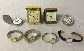Collection of watches and travel clocks including a ladies wrist watch in an 18ct gold case.