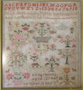 Framed Victorian sampler by Ann Grocock aged 12 dated 3 December 1853 41 cm x 44.