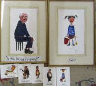 2 framed watercolours by David Cuppleditch 'Is this the way I'm going' and 'Lost' 37 cm x 52.