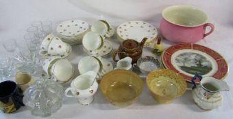 Box of assorted ceramics inc Duchess and glassware