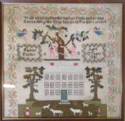 Framed early Victorian sampler by Fanny Foster aged 12 dated 1841 43.