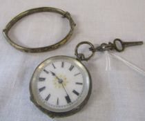 Continental silver fob watch and small silver bangle Birmingham hallmark