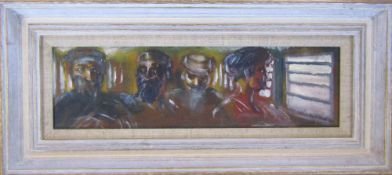 Oil on board 'In a Pakistani railway carriage 1993' by Jonathan Armigel Wade signed and dated J A