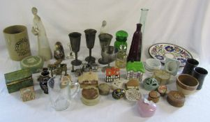 Selection of pewter, brassware,
