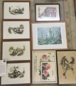 4 Don Breckon limited edition steam engine prints, water colour of New Oreanes and 4 other prints.