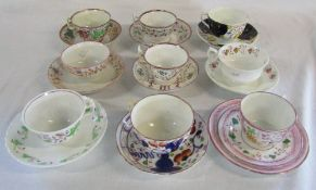 Assorted 19th century English tea cups and saucers (af)
