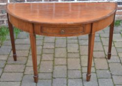 Georgian demi lune table on tappering legs with spade feet