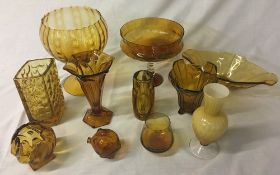 11 pieces of amber glassware