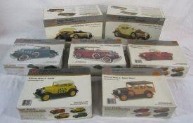 7 vintage boxed American model car kigs - 1929 Ford Model 'A Station Wagon,