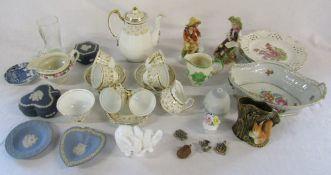 Various ceramics inc New Chelsea coffee set, Capodimonte figurines, Wedgwood jasperware,