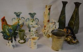 Various ceramics including two pairs of vases,