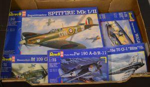 Revell model kits including 1:32 Supermarine Spitfire MK1/2, 1:72 Messerschmitt BF109,