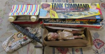 Tank Command and Bumpershot game, doll, picnic set,