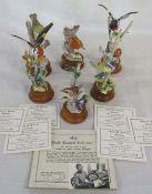6 limited edition bone china bird figures by David R Bowkett (modelled by David Seyner) Devon 1971