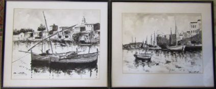 Pair of monochrome pen and ink drawings of harbour fishing scenes signed Diaz 49.
