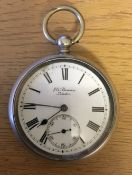 Silver pocket watch made by J W Benson London 1911 (small crack to dial)