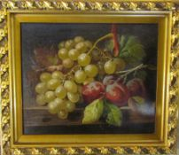 Victorian oil on canvas of still life signed C Balle 38 cm x 33 cm (size including frame) (scratch