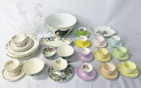 6 Aynsley coffee cups and saucers one with broken handle, floral Adderley coffee cups and saucers,