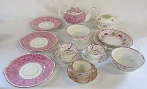 Selection of early Victorian lustre ware inc teapot, cups and saucers,