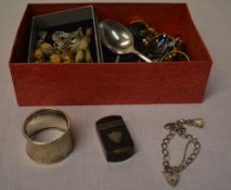 Silver napkin ring, silver small charm bracelet, various costume jewellery,