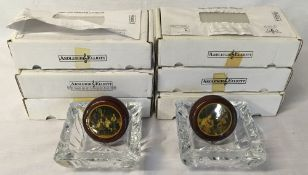 Six Ardleigh & Elliot music boxes all with boxes and certificates and two crystal ash trays.