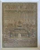 Framed George IV sampler by Ann Elliott aged 9 dated 1827 (2 holes in cloth) 46.