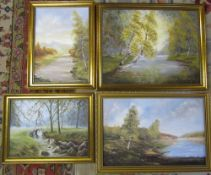 4 framed oil on board of rural scenes signed and dated P A Quipp 1987