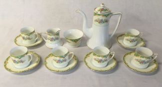 Noritake porcelain half coffee service comprising of 6 cups and saucers, cream jug,