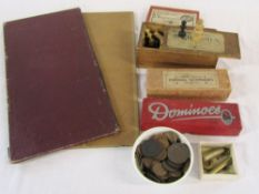 Selection of vintage games inc dominoes and chess,