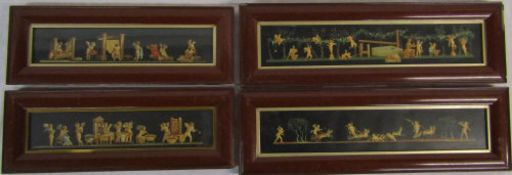 4 framed prints of cherubs and cherubs in chariots 39 cm x 14 cm & 48 cm x 15 cm (size including