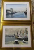 Pair of mixed media paintings of Boston docks by Charles Whitaker 74 cm x 59 cm (size including