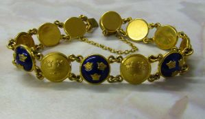 Swedish Sporrong enamelled bracelet designed as twelve circular panels each decorated with the