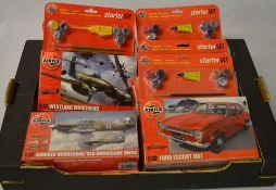 Airfix model kits / starter sets including Ford Escort MK1, Westland Whirlwind,
