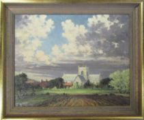 Oil on canvas by Clive Browne of a rural church scene 60 cm x 49.