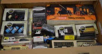 Box of die cast model cars including Oxford Commercials, Days Gone, Matchbox,