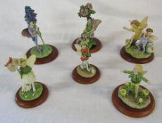 Set of 6 Flower Fairies figurines (Cicely Mary Barker) inc the bugle fairy,