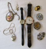 Ladies and Gents Rotary wristwatches, costume jewellery, silver Limoges necklace and pendant,