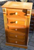 Pine narrow chest of drawers