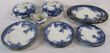 Blue and white 'Carnation' part dinner service inc tureens and meat plates