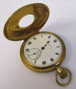 9ct gold half hunter pocket watch J W Benson London London 1932 (slight damage to face and missing