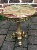 Small gilt effect table with onyx top