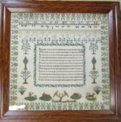 Large framed Victorian sampler by Caroline Hammond dated 28th June 1853 77 cm x 76 cm (size