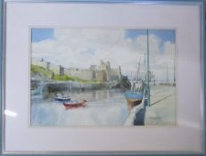 Framed watercolour of Peel Harbour,