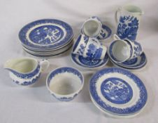 Various blue and white willow pattern ceramics