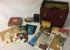 Various 45's including limited edition Jethro Tull, Rolling Stones etc, record case of 78's,
