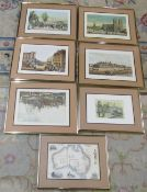 Selection of brass framed prints inc Hyde Park, Tower of London,
