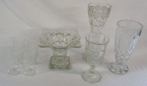 Assorted glass vases & 6 Edwardian glass tumblers