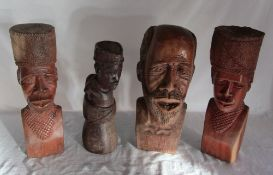 4 carved wooden tribal /African busts hand crafted in Zimbabwe H 35 cm