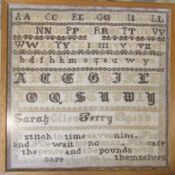 Framed Victorian sampler by Sarah Ellen Berry aged 8 dated 1894 45 cm x 45 cm (size including