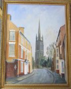 Gilt framed oil on board of Westgate and St James's Church by Paul Haigh 71 cm x 89 cm (size